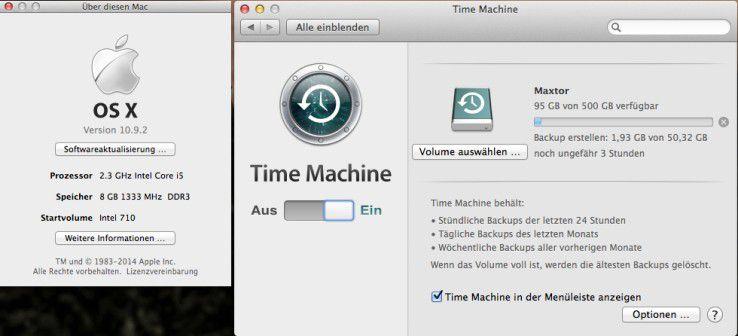 Time Machine: Vor dem Einbau einer SSD in den Mac mini wird mit Time Machine ein Backup auf eine externe USB-Festplatte durchgeführt.