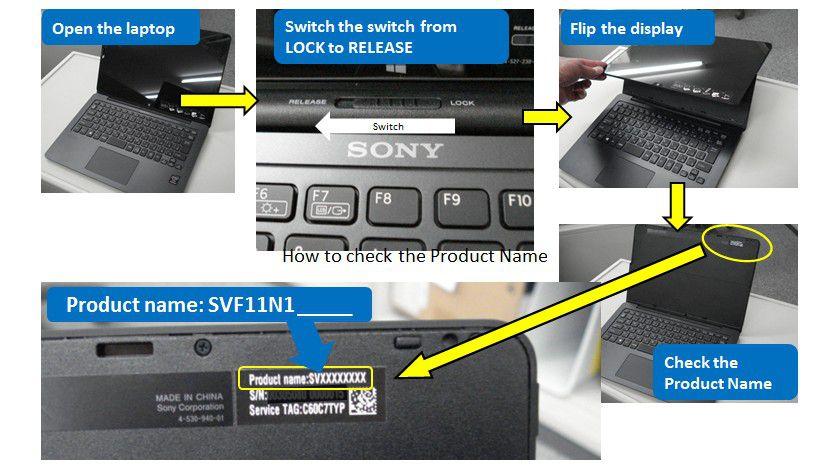 """Die Produktbezeichnung der betroffenen Geräte ist auf der Rückseite des Displays zu finden und folgt dieser Nomenklatur """"SVF11N1XXXX""""."""