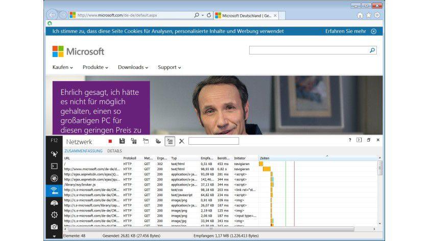 Protokollierung: Mithilfe der integrierten Entwicklertools lässt sich beobachten, was der Internet Explorer von welcher Site lädt.
