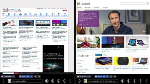 Platz für zwei: In Version 11 ist die Internet-Explorer-App endlich in der Lage, zwei Webseiten nebeneinander anzuzeigen.