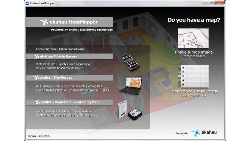 Startfrage: Den meisten Nutzen bietet die Software, wenn man über einen Grundriss verfügt, um die WLAN-Abdeckung einzuzeichnen.