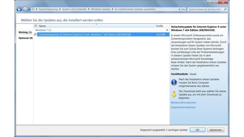 Das Update schließt die Sicherheitslücke im Internet Explorer.