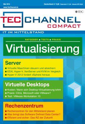 TecChannel Compact 03/2014: Auf über 160 Seiten wird das Thema Virtualisierung im Server-, Desktop- und Rechenzentrumsumfeld behandelt.