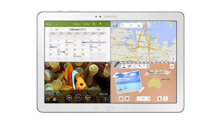 Multi-App-Screen: Samsung bietet die Funktion auf seinem Galaxy TabPRO bereits an. Hier lassen sich vier Apps parallel darstellen.