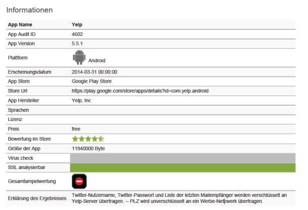 Auskunftsfreudig: Die App Yelp holt sich vom Nutzer ebenfalls einige Auskünfte ein.