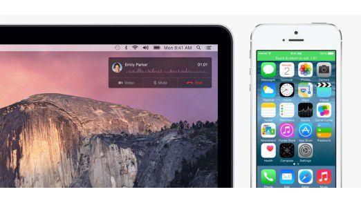Handoff: Telefonanrufe auf dem iPhone können künftig auch auf dem Mac entgegengenommen werden.