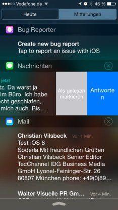 Optimiert: Die Mitteilungszentrale wurde in iOS 8 aufgeräumt und mit praktischen Features ausgestattet. Beispielsweise lässt sich direkt in der Zentrale auf Nachrichten antworten - ohne Wechsel in die App.