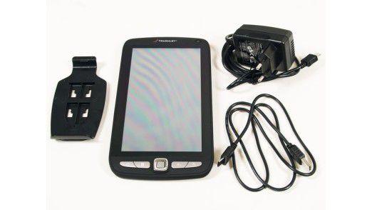 Pearl Touchlet X2 samt Zubehör: Netzteil, USB-Kabel, Halterung.