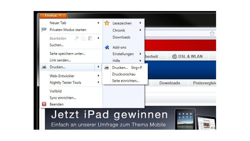 Bedienung: Diverse Optionen sind nun in einen einzelnen Firefox-Button gewandert.