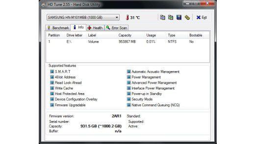 Firmware und Funktionsumfang der Samsung Spinpoint M8 1TB HN-M101MBB