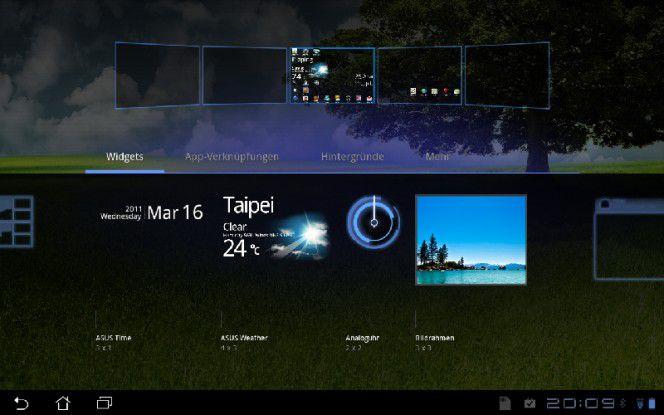 Asus hat eigene Widgets für die Startbildschirme programmiert.