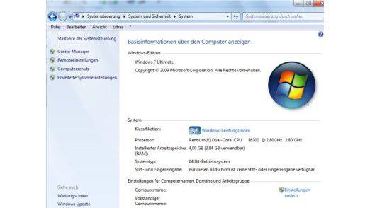 In der Systemsteuerung von Windows 7 sehen Sie sofort die wichtigsten Leistungsmerkmale Ihres Rechners.
