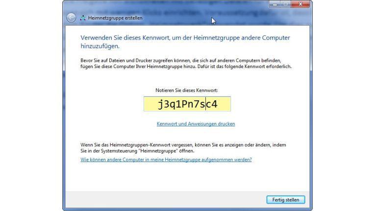 Windows generiert ein Passwort, mit dem sich andere Rechner im gleichen Netzwerk in der Gruppe anmelden können.