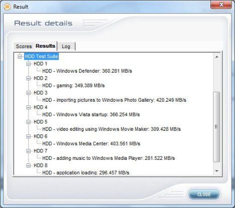 PC Mark Vantage: Einzelergebnisse der Patriot Pyro 120GB