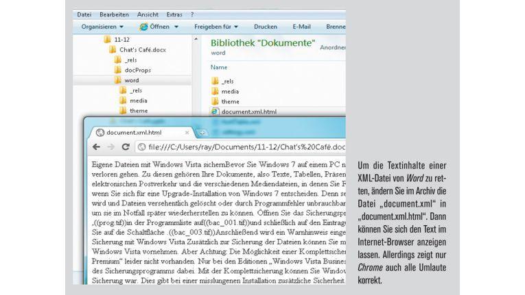 Sie können sich die Textinhalte im Internet-Browser anzeigen lassen.
