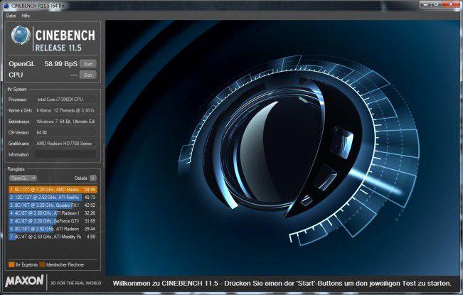 Ergebnis des OpenGL-Benchmarks von Cinebench 11.5 für die AMD Radeon HD 7750.