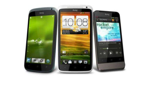 Die HTC One Serie. Von links: HTC One S, HTC One X und das HTC One V.