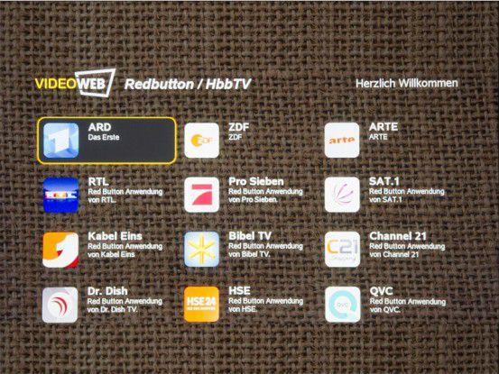 Nur der Videoweb TV liefert über HbbTV Zugriff auf Mediatheken und andere TV-Infos. Das Angebot wächst ständig.