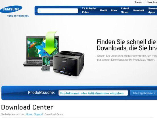 Auf Support-Webseiten bieten alle großen Hersteller von Multimedia-Geräten (hier www.samsung.de) Handbücher, Software, Firmware-Updates und Anleitungen.