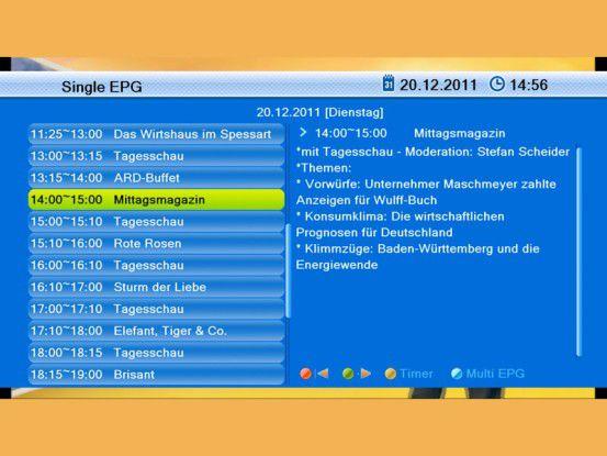 In der Einzelansicht liefert der EPG des Smart CX 70 zur Programminfo auch eine kleine Inhaltsangabe.