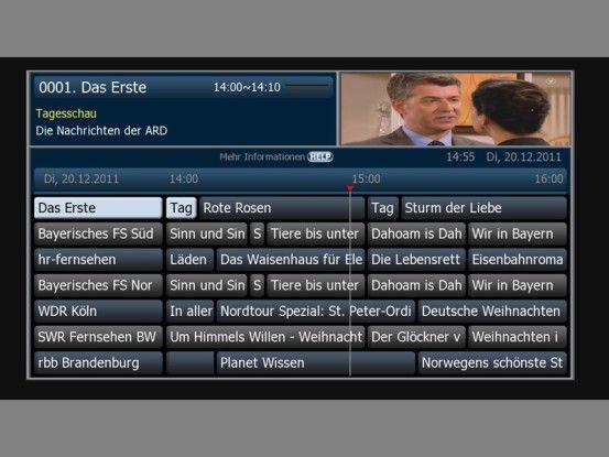 Der EPG des Vantage VT-1000C wirkt aufgrund der gleichen Schrift für Sender und Programm etwas unübersichtlich.