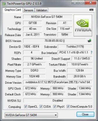 Die Grafikkarte Nvidia Geforce GT 540M im Detail.