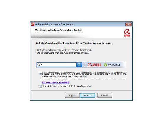 Ohne Ask Toolbar keinen WebGuard