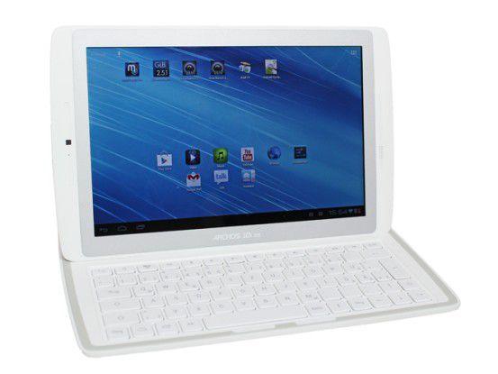 Das Archos-Tablet wird magnetisch in der Tastatur gehalten