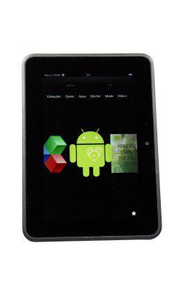 Android nur als Icon: Vom Google-Betriebssystem bekommen Sie auf dem Amazon-Tablet nichts mit
