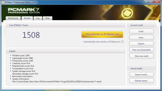 Zotac Zbox Nano XS: Ergebnis im PC Mark 7