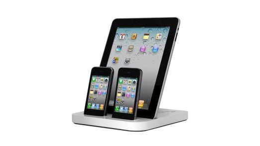 Mit dem Photofast Ultra Dock kann man drei Geräte mit 30-Pin-Dockanschluss gleichzeitig laden
