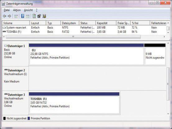 Über die Datenträgerverwaltung von Windows lassen sich viele Probleme lösen.