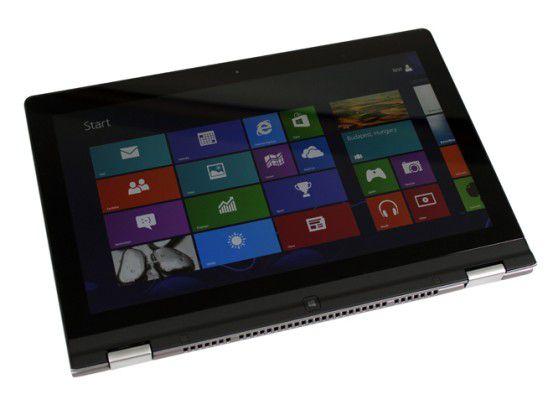 Das zusammengeklappte Yoga 13 im Tablet-Modus