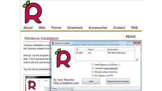 Die Installation der Media-Center-Software XMBC für den Raspberry Pi, RASPBMC, erfordert keinerlei Linux-Kenntnisse: Alles läuft am Windows-PC im Microsoft-Betriebssystem.