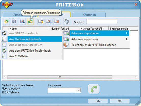 Das Windows-Programm Fritzbox Monitor ist in der Lage, die Outlook-Kontakte in das Telefonverzeichnis der Fritzbox zu exportieren.