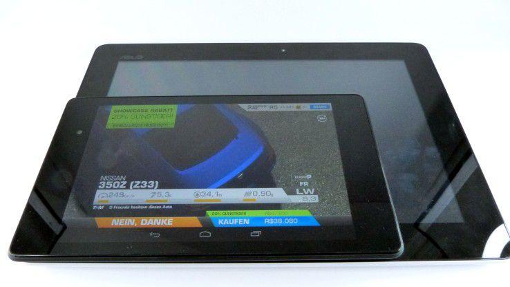 Nicht jedem Nutzer sind 7 Zoll genug - im Vergleich zum 10-Zoller Asus Memo Pad FHD 10 wirkt das Nexus 7 fast verloren.