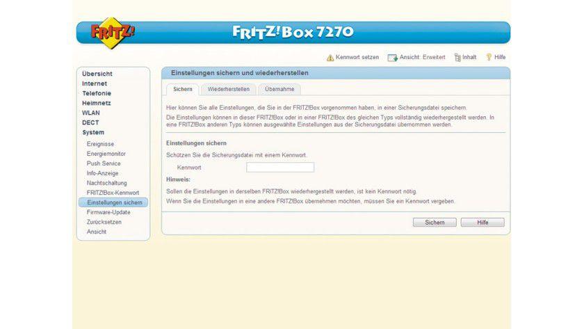Der erste Schritt bei Experimenten mit der Fritz!Box: Sichern Sie die aktuellen Einstellungen des Konfigurationsmenüs.