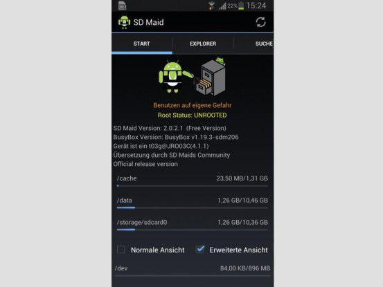Das Android-Dienstmädchen ist besonders gründlich und findet auch Datenleichen bereits gelöschter Apps.