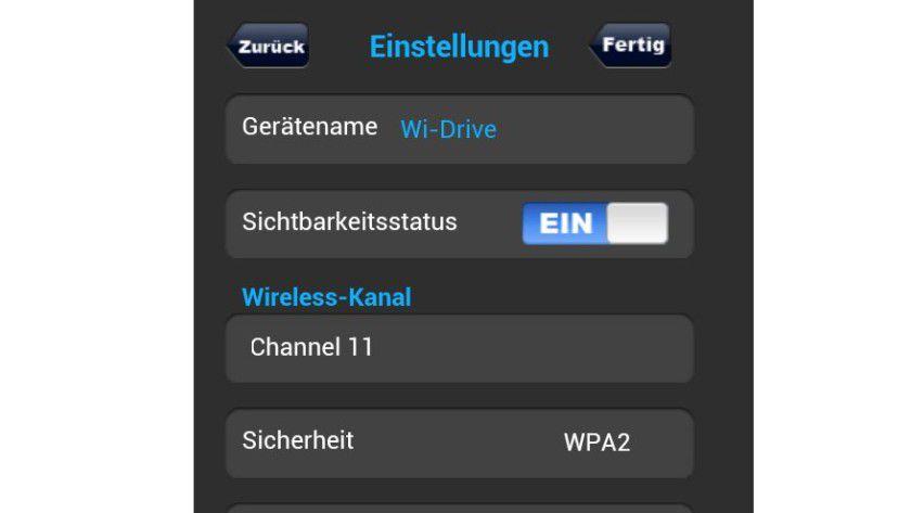 Sicherheitsfeature: Die WLAN-Verschlüsselung aktivieren Sie in der App der WLAN-Festplatte.