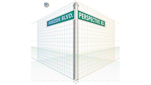 Die Konzepte von Parallaxe und Perspektive sind eng miteinander verwandt: Nähere Objekte nehmen einen größeren Winkel im Blickfeld ein und erscheinen daher größer und sich schneller zu bewegen.