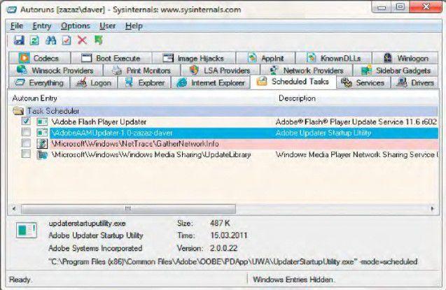 Autostarts im Überblick: Die Freeware Autoruns zeigt alle Autostart-Elemente, egal ob diese in der Registry über Run- Schlüssel oder über den Aufgabenplaner festgelegt sind.