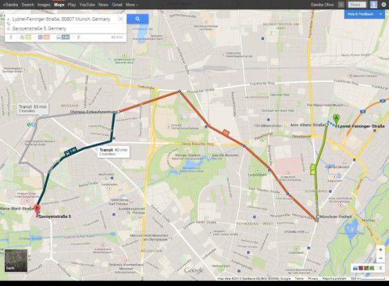 Auch mit öffentlichen Verkehrsmitteln können Sie Ihre Routen planen lassen.