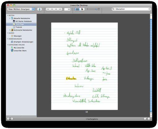 Aufzeichnung eines Pencasts im Archiv. Die Texterkennung der Notizen erstaunt selbst Benutzer mit nachlässiger Handschrift.