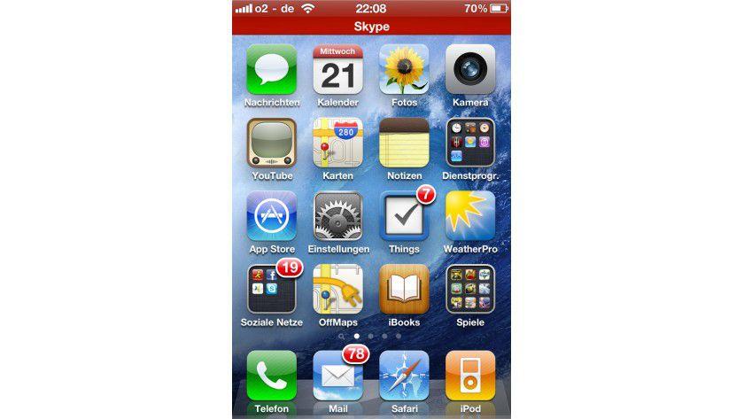 Hinweis: Der zweite rote Balken zeigt an, dass im Hintergrund ein VoIP-Gespräch läuft.