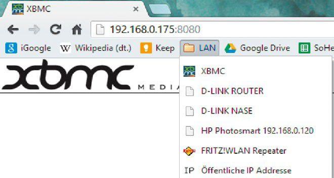 Browser-Lesezeichen für lokale Geräte: Sorgen Sie dafür, dass Sie den Router und andere Netzkomponenten mit einem Klick erreichen.
