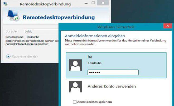 Anmeldung am anderen Heimrechner: Die Anmeldedaten der Remote-Verbindung können Sie speichern und den anderen PC künftig umweglos nutzen.