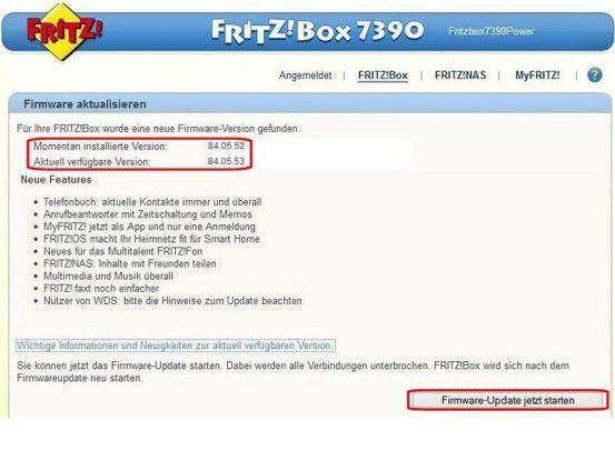 """Die Online-Prüfung hat ergeben, dass für die Fritzbox eine neue Firmware bereit steht (oben). Über die Schaltfläche """"Firmware-Update jetzt starten"""" wird sie heruntergeladen und installiert."""