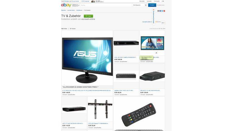 Augenscheinlichste Neuerung sind die eBay Kollektionen – hier ein Beispiel aus dem Technikbereich.