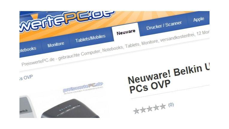 PreiswertePC.de hat die missverständliche Rubrik 'Neuware' aus dem Online-Shop entfernt um nicht den Anschein zu erwecken, man vertreibe reguläre Neuware an Endkunden.
