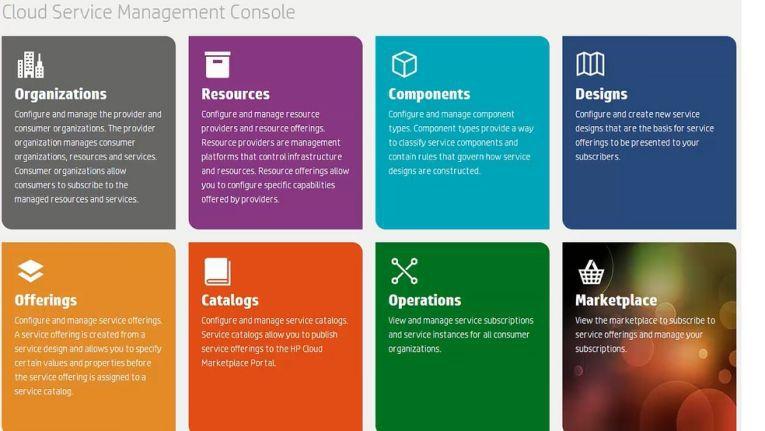 HP Cloudsystem 8: Grafisch dominierte Benutzeroberflächen für unterschiedliche Anwendergruppen.